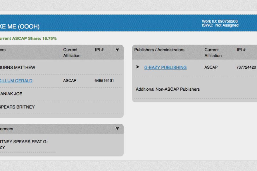 MMO registrata sul sito ASCAP